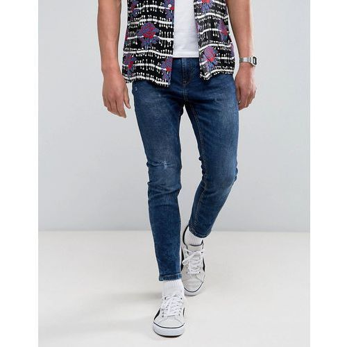 Pull&Bear Skinny Carrot Fit Jeans In Mid Blue Wash - Blue, kolor niebieski