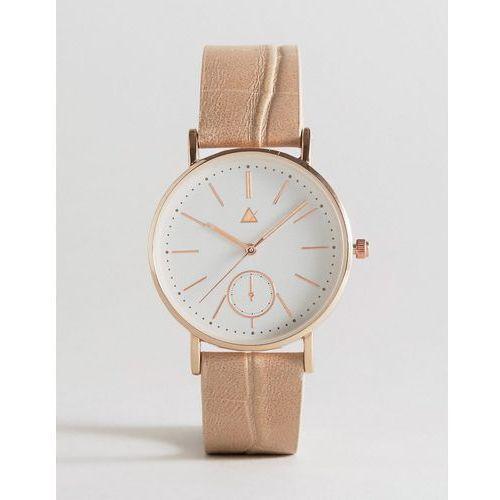 ASOS CURVE Large Clean Dial Watch With Faux Crocodile Strap - Cream - produkt z kategorii- Pozostałe