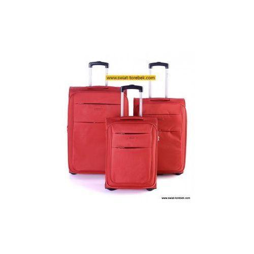 Komplet walizek  kolekcja camerino zestaw duża + średnia + mała/ kabinowa 2 koła materiał polyester zamek szyfrowy marki Puccini