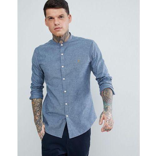 steen slim fit textured grandad collar shirt in blue - blue marki Farah