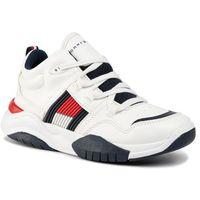 Sneakersy - high top lace-up sneaker t3b4-30486-0815 d white 100 marki Tommy hilfiger
