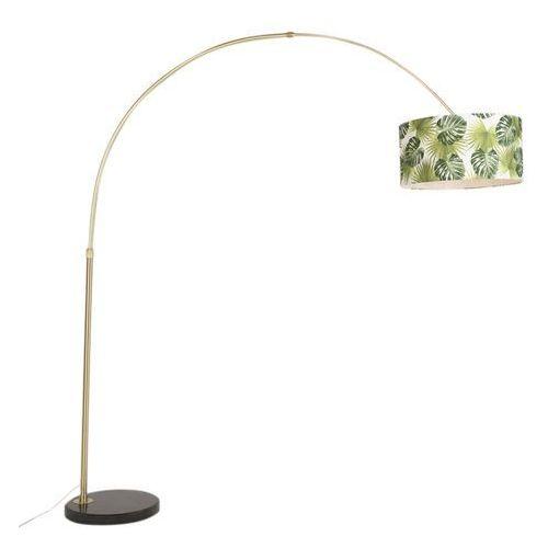 Qazqa Klasyczna lampa podłogowa łuk matowy mosiądz z kloszem w liście - marbello