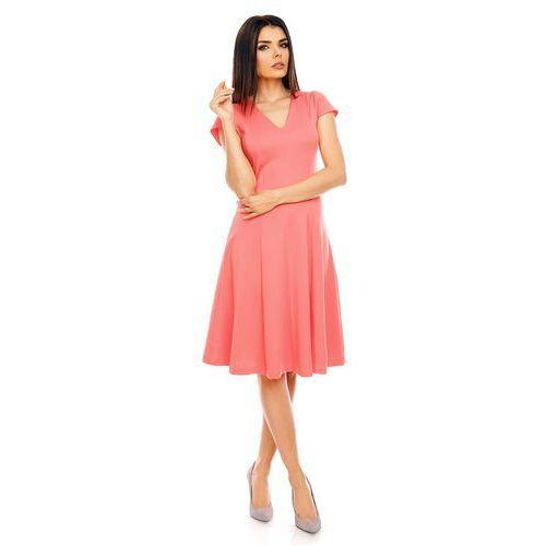 Malinowa Elegancka Rozkloszowana Sukienka z Mini Rękawkiem, w 6 rozmiarach