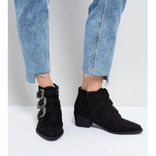 Truffle Collection Western Heeled Ankle Boots - Black, kolor czarny