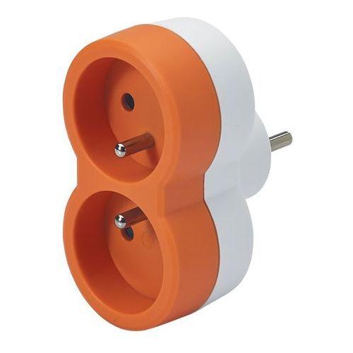 Rozgałęźnik Legrand 2 x 2 P+Z pionowy biało-pomarańczowy
