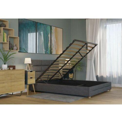 Big meble Łóżko 140x200 tapicerowane bergamo + pojemnik + materac sawana ciemno szare