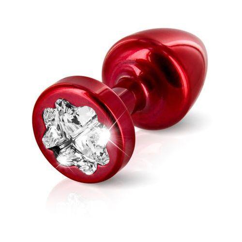 Zdobiony plug analny -  anni r butt plug clover red 25 mm koniczyna czerwony marki Diogol