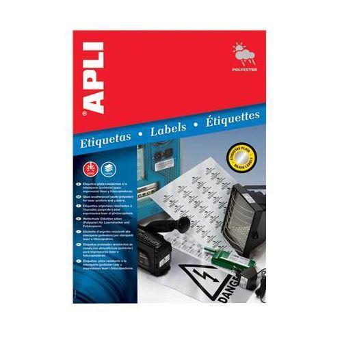 Etykiety poliestrowe APLI, 63,5x29,6mm, zaokrąglone, srebrne, 20 ark., AP10070