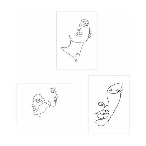 Zestaw 3 plakatów Line Art 50 x 70 cm (5901844248151)