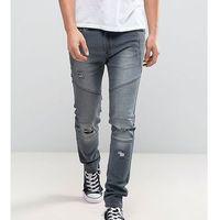 Liquor N Poker Skinny Distressed Biker Jeans in Washed Grey - Grey, jeans