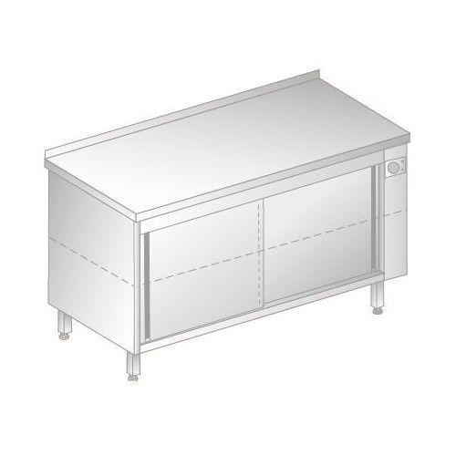 Stół przyścienny podgrzewany z drzwiami suwanymi, 2000x600x850 mm   DORA METAL, DM-94374