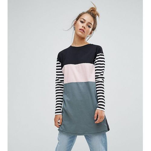 ASOS PETITE T-Shirt with Colourblock and Stripe Panels and Superlong Sleeves - Multi