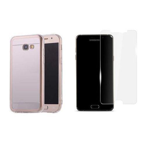 Zestaw   Slim Mirror Case Srebrny   Etui + Szkło ochronne Perfect Glass dla modelu Samsung Galaxy A5 2017