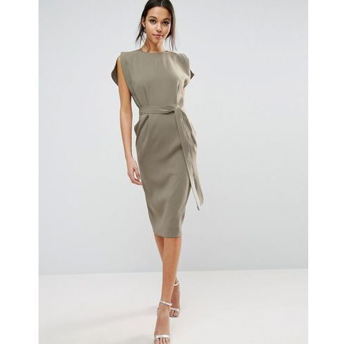 ASOS Belted Midi Dress with Split Cap Sleeve and Pencil Skirt - Green, kolor zielony