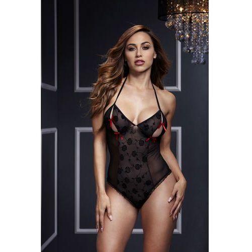 Baci Body z wycięciami na piersiach -  black lace bodysuit & bra slits red bow