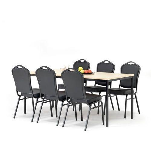 Aj produkty Zestaw mebli do stołówki, stół 1800x800 mm, brzoza + 6 krzeseł, skai/czarny