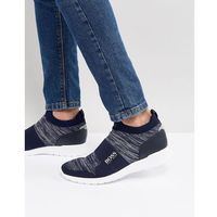 knitted ankle trainers in navy - navy, Boss