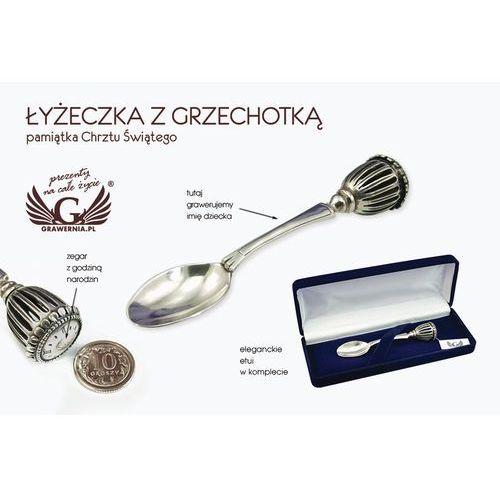 Łyżeczka z grzechotką srebro - pamiątka chrztu świętego - wzór srb018 marki -