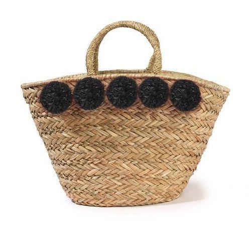 Słomiany koszyk z pomponami, kolor czarny