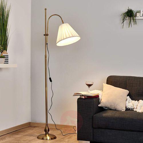 Antyczna lampa stojąca LEILAN z abażurem