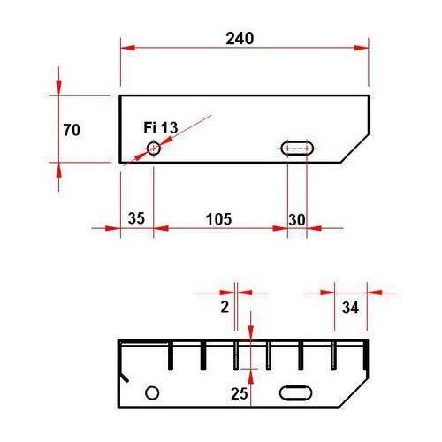 Stopień schodowy wema ocynk 34x38 25x2 l600 b240 marki Marketstal.pl - sprzedawca