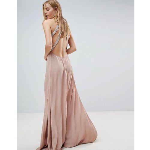 embellished trim backless maxi dress - pink marki Asos