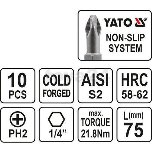 Końcówki wkrętakowe ph2x75 mm, kpl. 10 szt. yt-0480 - zyskaj rabat 30 zł marki Yato