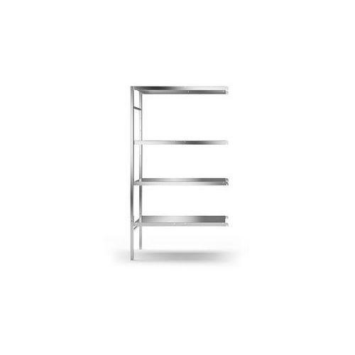 Kek Regał wtykowy ze stali szlachetnej, 4 gładkie półki,szer. półki x gł. 940 x 440 mm
