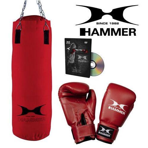 Hammer Zestaw bokserski fit – worek hammer fit czerwony (60cm) + rękawice hammer fit 10 oz + dvd z treningiem