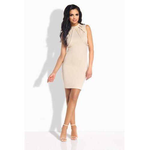 Beżowa Sukienka Ołówkowa Mini z Ozdobnymi Paskami, kolor beżowy