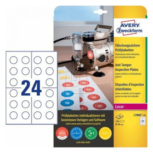 Tabliczki inspekcyjne plomby Avery Zweckform 30mm 10 arkuszy L7806-10 (4004182068496)