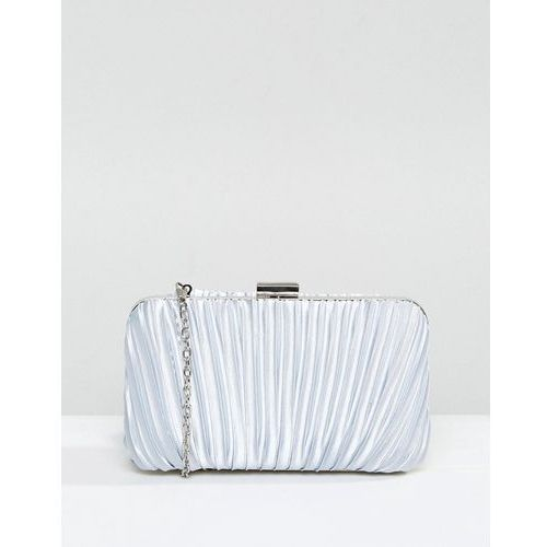 Chi Chi London Ruched Clutch Bag in Satin - Grey