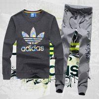Dresy Adidas Bluza Ciemnoszara (kolorowe logo), spodnie Szare/granatowe PF1501-2