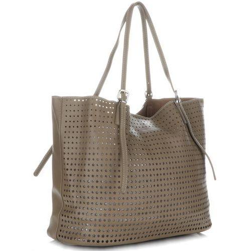 Uniwersalne ażurowe torebki damskie uniwersalne i na co dzień khaki marki David jones