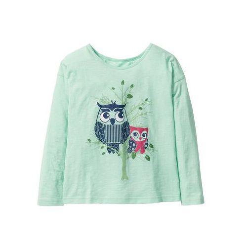 9bc9042007dace Shirt z długim rękawem i nadrukiem bonprix jasny miętowy z nadrukiem, kolor  zielony