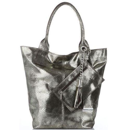 2c60ff88a65f3 Vittoria gotti Włoskie torebki skórzane shopperbag xl z etui firmy  czekoladowe ze złotym (kolory)