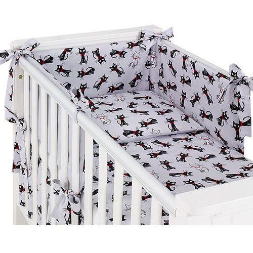 MAMO-TATO dwustronna rozbieralna pościel 3-el Kotki szare / szary do łóżeczka 70x140cm, kolor szary