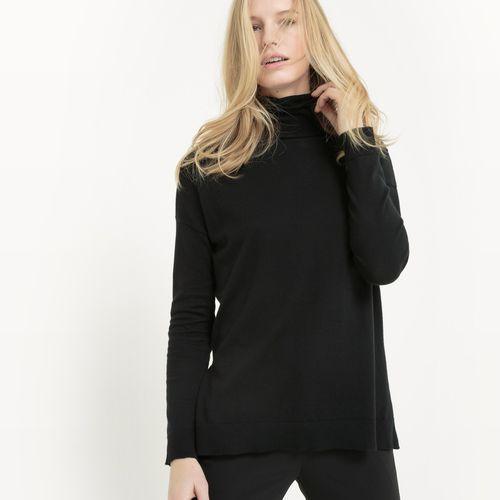 Sweter z golfem z bawełny i jedwabiu, z