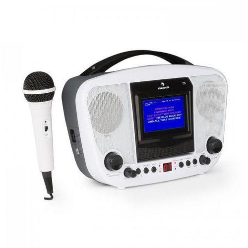 """Karabanga zestaw karaoke mikrofon wyświetlacz tft 4,3"""" bluetooth biały marki Auna"""
