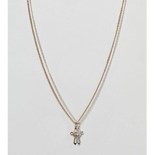 Reclaimed vintage inspired double cross necklace in 2 pack exclusive to asos - gold