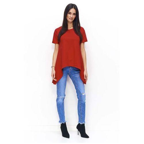 Czerwona Asymetryczna Dzianinowa Bluzka z Rozcięciem z Tyłu, DNU81re