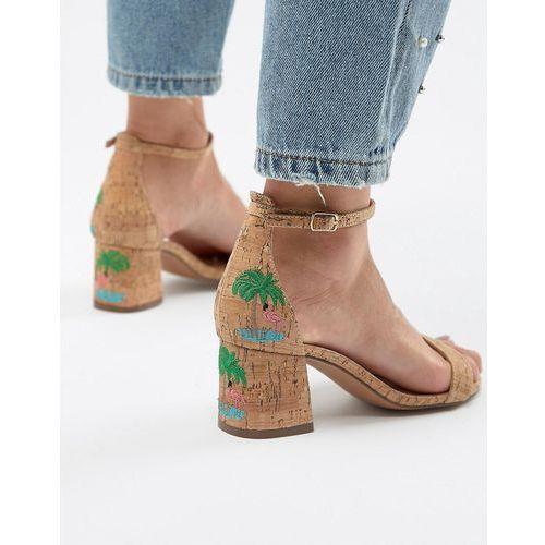 Glamorous Natural Flamingo Embroidered Mid Heel Sandals - Beige