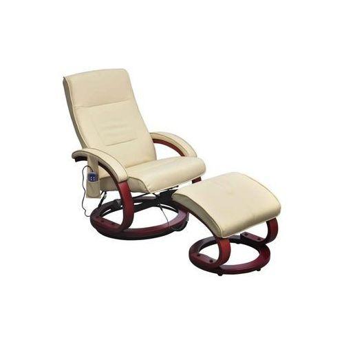 vidaXL Fotel masujący ze sztucznej skóry z podnóżkiem, kremowy (8718475832706)