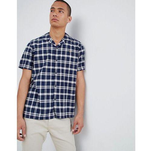 Farah prestwich check revere collar short sleeve shirt in navy - navy