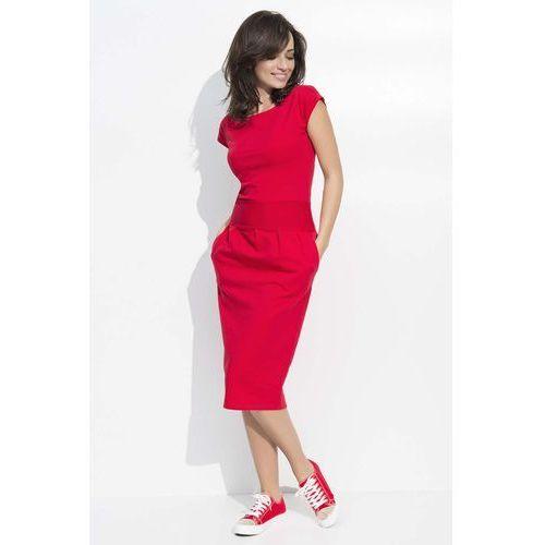 Czerwona Sukienka Bombka Midi z Rękawkiem, DNU44re
