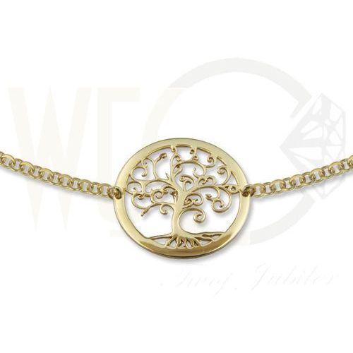 Węc - twój jubiler Naszyjnik ze złota - celebrytka z motywem drzewka szczęścia - model 21