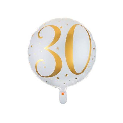 Balon foliowy biały ze złotym nadrukiem - 30tka - 35 cm - 1 szt. (3660380045038)