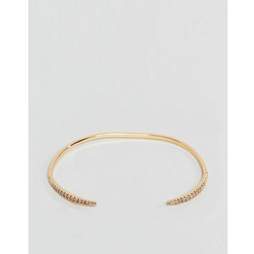 ASOS DESIGN cuff bracelet with fine crystal tapered design in gold - Gold