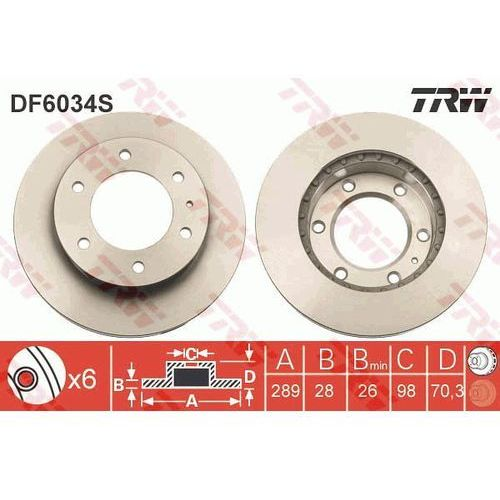 TARCZA HAM TRW DF6034S MAZDA B 2.5D 4WD 84KM 02-, BT-50 2.5 MRZ-CD 4X4 143KM 06- (3322938021849)