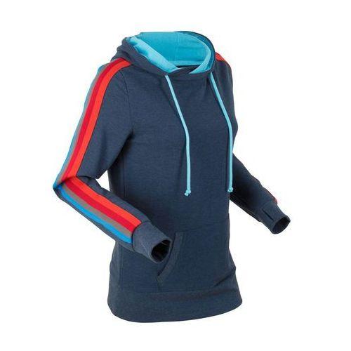 Lekka bluza z kolorową taśmą, długi rękaw bonprix ciemnoniebieski melanż, w 8 rozmiarach